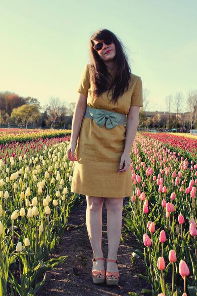 light orange BC footwear wedges - light yellow vintage dress