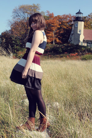 navy modcloth dress - brown Vintage crown boots - black Betsey Johnson tights