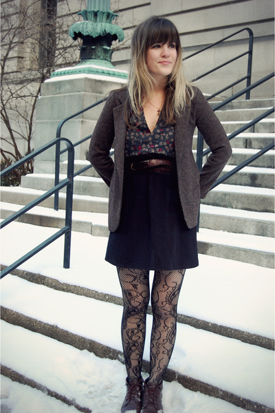 brown Urban Outfitters blazer - black Cosette dress - black modcloth tights - br