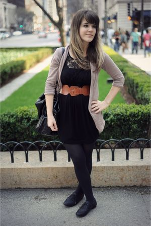 black Forever 21 dress - black Aldo shoes - brown modcloth belt - pink BDG at ur