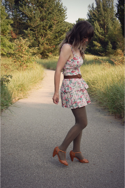 brown Urban Outfitters shoes - pink modcloth dress