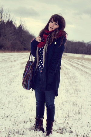 navy modcloth bag - brown Target boots - navy modcloth coat