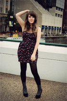 black Primark dress - black Target tights - black Juicy Couture heels - black Fo