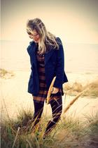 blue Forever 21 blazer - brown Ragstock dress - brown Forever 21 belt - black Ra