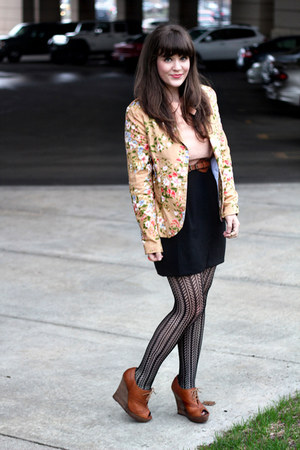 light yellow modcloth blazer - peach Forever 21 dress - black Aldo tights