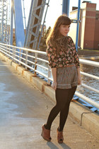 black Target tights - heather gray modcloth shorts - black Forever 21 top - burn