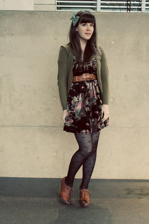 black postcards from swap dress - black Forever 21 tights - olive green H&amp;M card