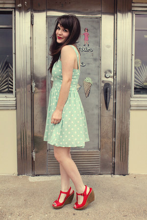 red Blowfish Shoes wedges - light blue modcloth dress