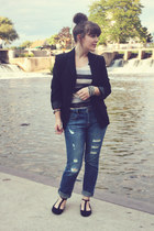 black modcloth flats - navy Forever 21 jeans - black thrifted blazer