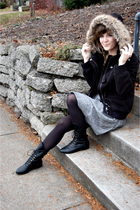 black zenana outfitters jacket - gray Forever 21 skirt - black Target tights - b