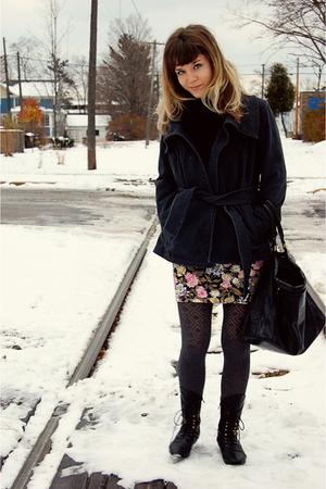 gray Gap jacket - gray Gap tights - black Forever 21 purse - pink pink mink dres