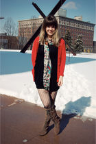 black Forever 21 dress - red The Limited cardigan - red modcloth scarf - black m