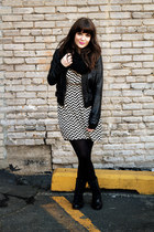 black shoemint boots - black Ruche dress - black Marshalls jacket