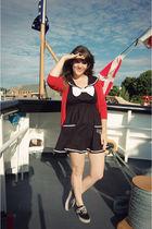 red The Limited cardigan - black vans authentics shoes - black modcloth dress