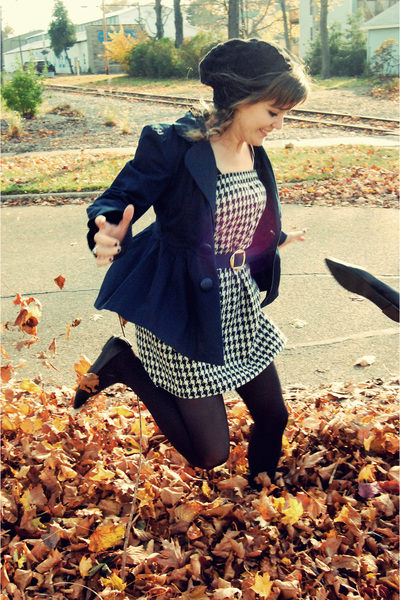blue Forever 21 blazer - black Sam & Libby shoes - black thrifted dress