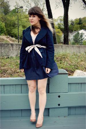 blue modcloth dress - beige DSW shoes - blue Forever 21 blazer