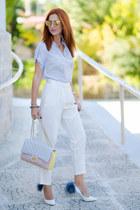 light yellow Chanel bag - light blue Massimo Dutti shirt - Tom Ford sunglasses