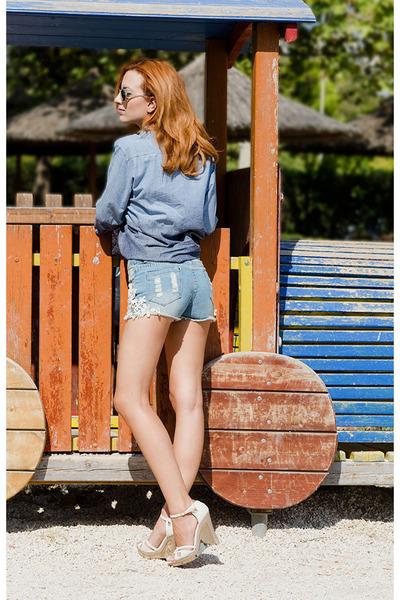 Zara shirt - chicnova shorts - Fendi wedges