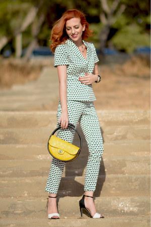 yellow Chanel bag - white MaxMara blazer - black MaxMara pants