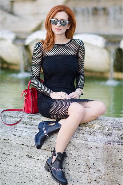 black SANDRO boots - black asos dress - red Celine bag