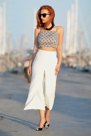 Zara pants - hm necklace - Nasty Gal top - Christian Louboutin heels