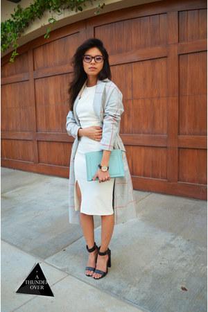 silver over-sized asoscom coat - ivory fitted asoscom dress