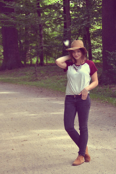 brick red H&M shirt - dark gray Zara pants - Primark necklace