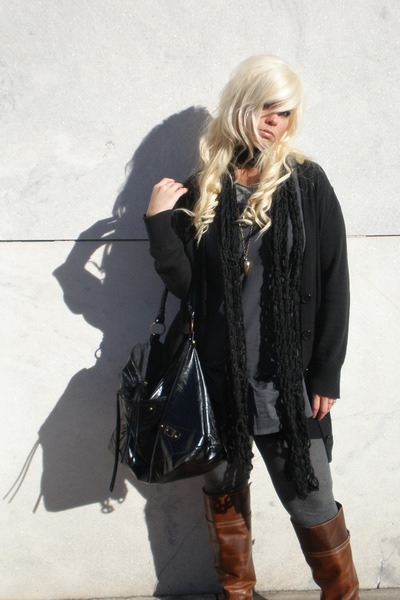 brown Frye boots - black Forever21 purse - gray Heritage 1981 dress - black Gap