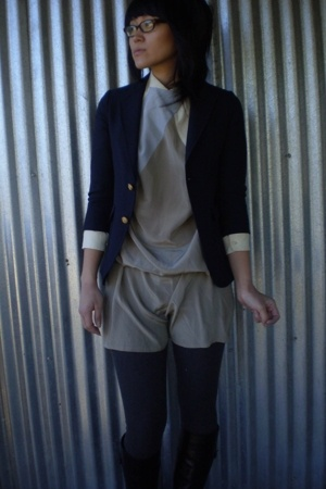 dress - blazer - tights