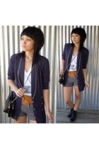 blazer - shoes - shorts - purse - belt