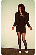 black thrifted blazer - black Forever 21 dress - black Nordstrom tights - white