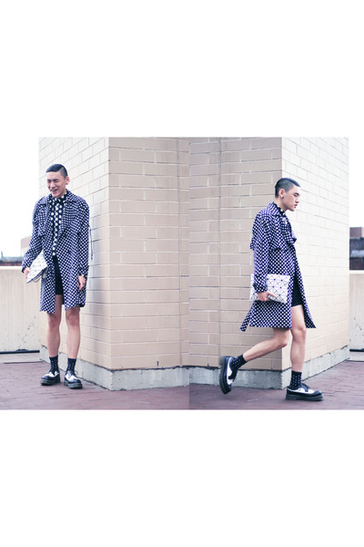 poka dot vintage jacket - black and white Dr Martens shoes - poka dot H&M shirt