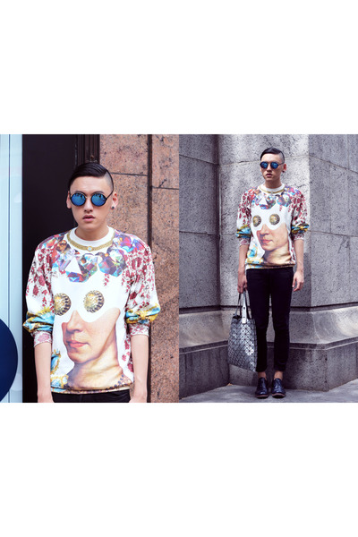 bao bao Issey Miyake bag - lace up Prada shoes - skinny jeans H&M pants