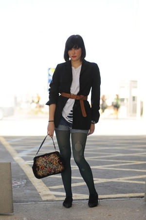 Zara jacket - tights - jeans - Secondhand purse