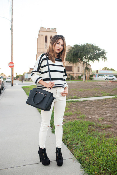 black Aquapillar boots - white Topshop jeans - white sammydress sweater