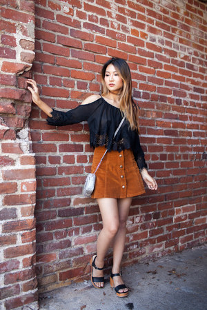 burnt orange Topshop skirt - silver Michael Kors purse