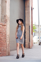 crimson Goorin Brothers hat - heather gray Marshalls dress