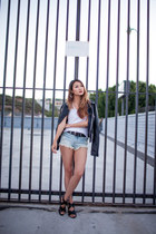 black leather Bershka jacket - light blue abercrombie and fitch shorts