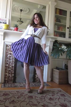 cream Mossimo cardigan - light purple pleated Bebe dress - tan Mia wedges