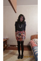 black mileno shoes - purple Only shirt - brown tights - skirt - white necklace