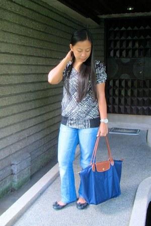 black Charles & Keith flats - blue Esprit jeans - blue longchamp bag