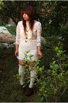 white f21 dress - brown Miu Miu shoes - gold shop viva la vida lolita accessorie