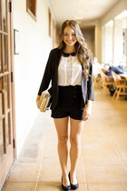 black lunch hour jacket - black sail away shorts - white float on blouse