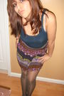 Blue-h-m-shirt-purple-forever-21-skirt-gray-h-m-stockings-brown-payless-sh