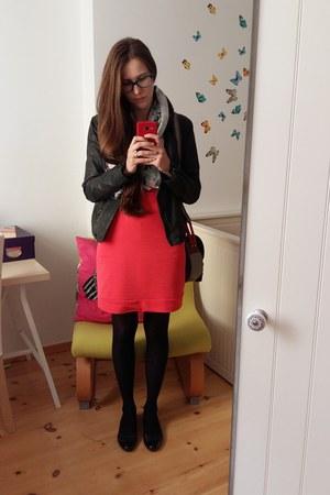 black unknown shoes - hot pink unknown dress - black Bona parte jacket