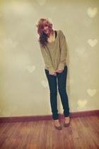 navy Blue Asphalt jeans - cream crocheted beret Rue 21 hat - heather gray Americ