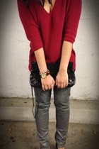 red knit Express sweater - silver coated Anlo jeans - small moto Besso bag
