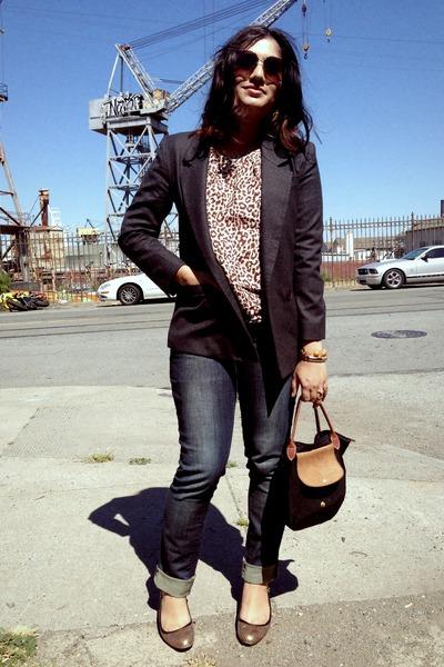 30f680ebbc black longchamp bag - blue salt jeans - charcoal gray Vintage Talbots blazer