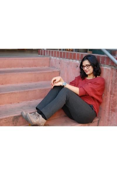booties born boots - hinge sweater - ponte drapey Ann Taylor Loft pants