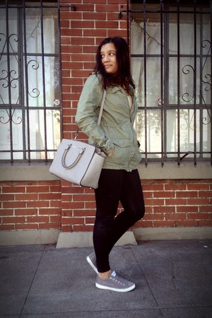 olive green military H&M jacket - heather gray Converse shoes